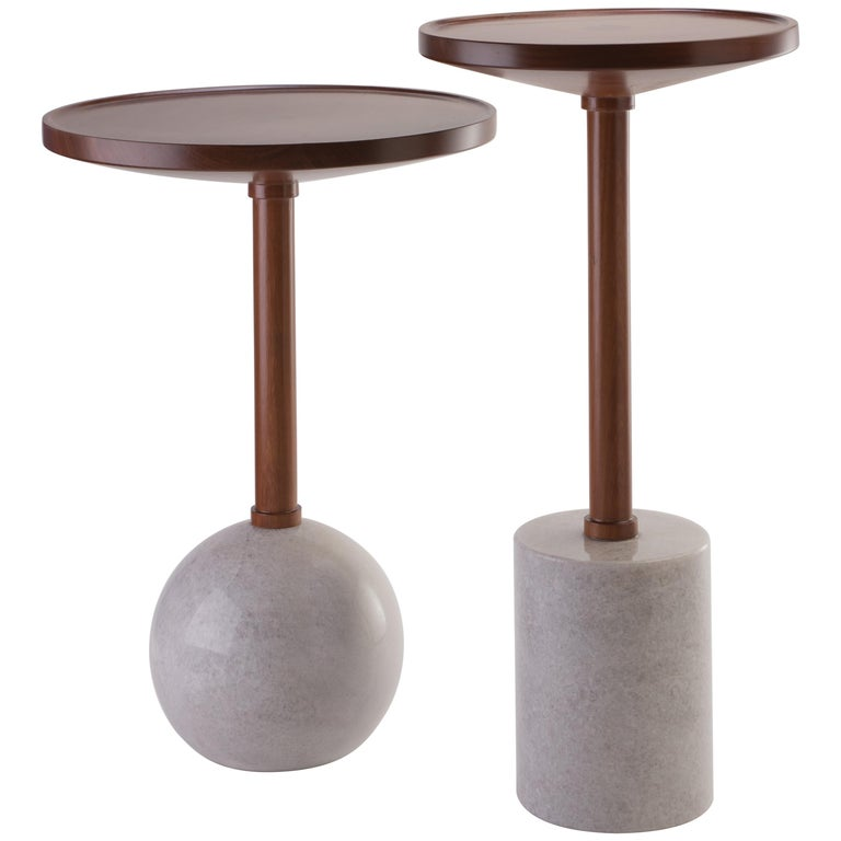 Monterrey Side Tables, set of 2, White Marble For Sale
