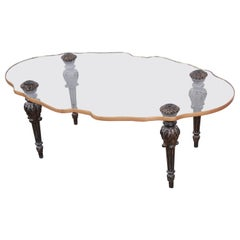 Monteverdi-Young Midcentury Hollywood Regency Scalloped Glass Cocktail Table