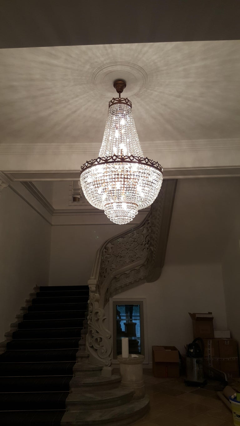New Montgolfière style chandelier Empire style smaller larger possible. Lead crystal. - House production. Made in Berlin. - available in several sizes Measures:  Diameter 80 cm  High 120 cm 23 x E14 bulbs.  Montgolfiè Antique Lok Crystal Chandelier