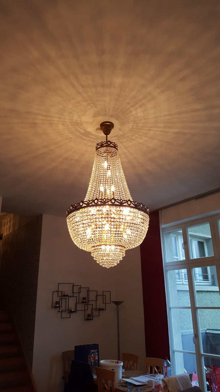 German Montgolfiè Antique Lok Crystal Chandelier Empire Sac a Pearl Lamp Chateau Lustre For Sale