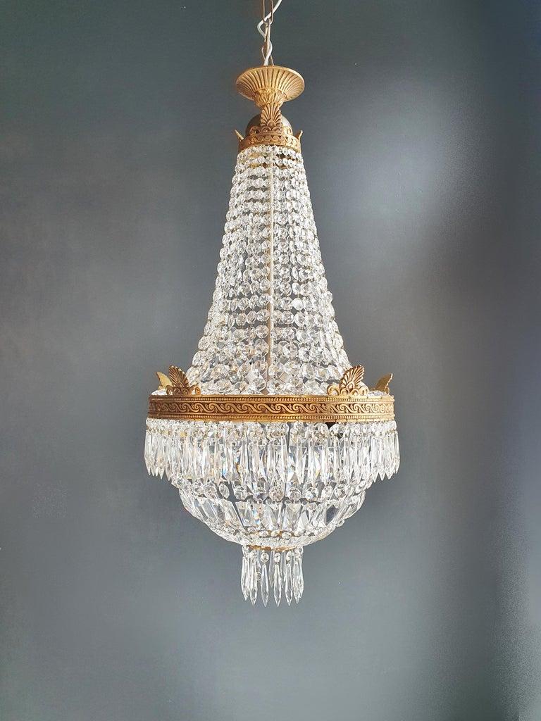 Montgolfiè Empire Brass Sac a Pearl Chandelier Crystal Lustre Ceiling Antique For Sale 3