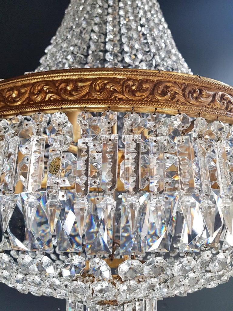European 2 Montgolfiè Empire Brass Sac a Pearl Chandelier Crystal Lustre Ceiling Antique For Sale