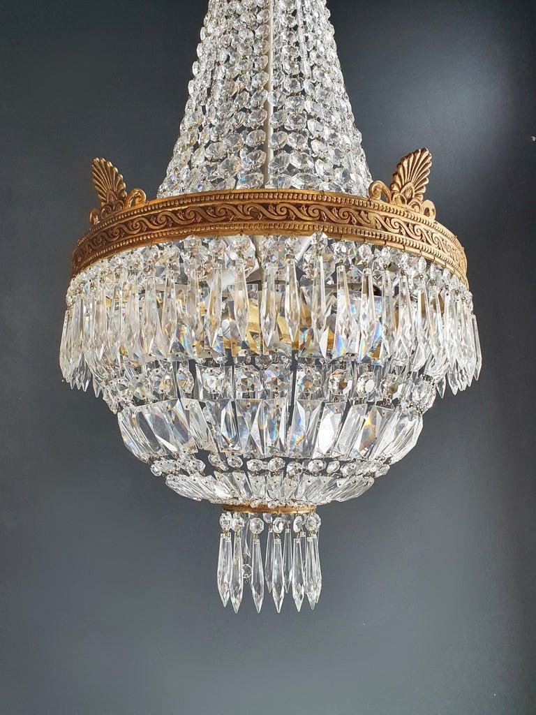 European Montgolfiè Empire Brass Sac a Pearl Chandelier Crystal Lustre Ceiling Antique For Sale