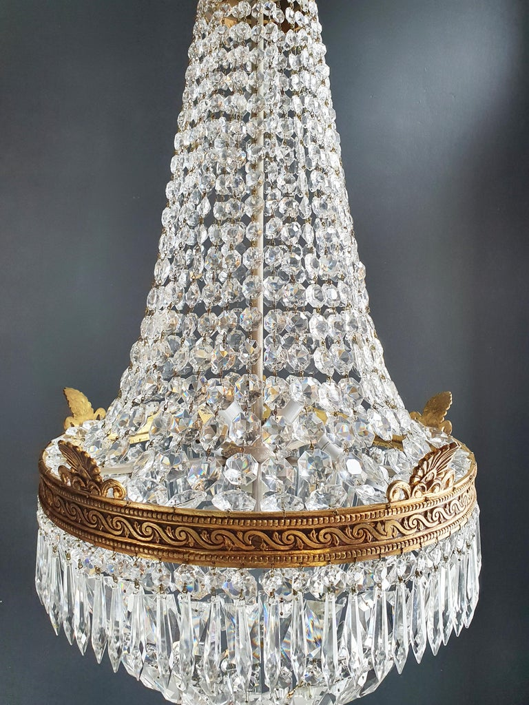 Hand-Knotted Montgolfiè Empire Brass Sac a Pearl Chandelier Crystal Lustre Ceiling Antique For Sale
