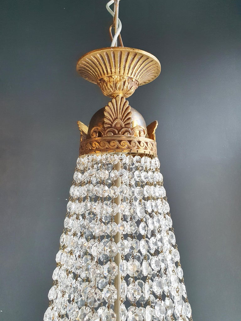 Montgolfiè Empire Brass Sac a Pearl Chandelier Crystal Lustre Ceiling Antique In Good Condition For Sale In Berlin, DE
