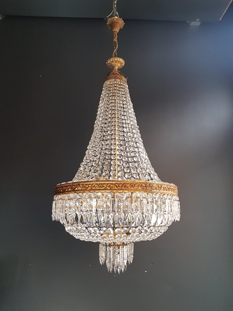 Mid-20th Century 2 Montgolfiè Empire Brass Sac a Pearl Chandelier Crystal Lustre Ceiling Antique For Sale