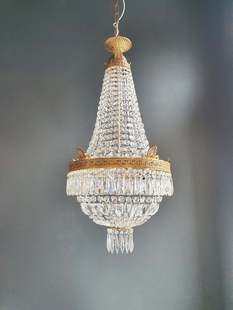Mid-20th Century Montgolfiè Empire Brass Sac a Pearl Chandelier Crystal Lustre Ceiling Antique For Sale