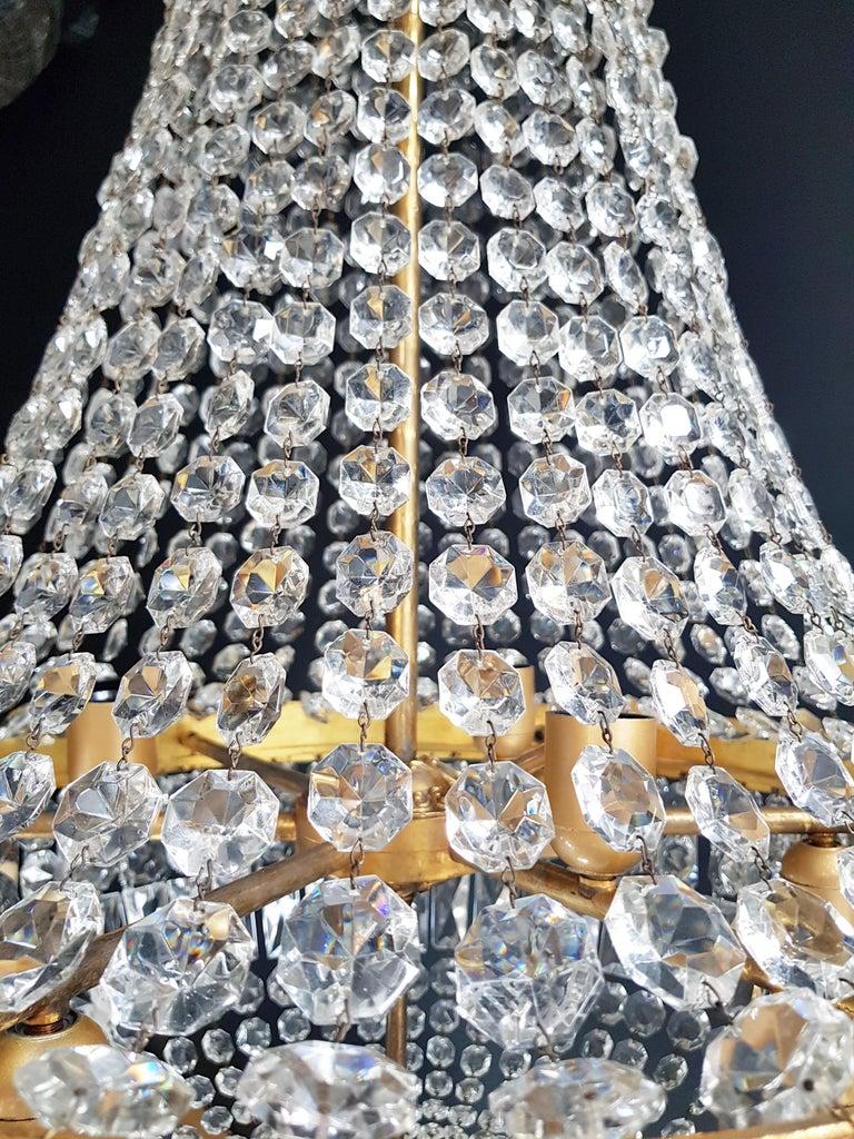 2 Montgolfiè Empire Brass Sac a Pearl Chandelier Crystal Lustre Ceiling Antique For Sale 1