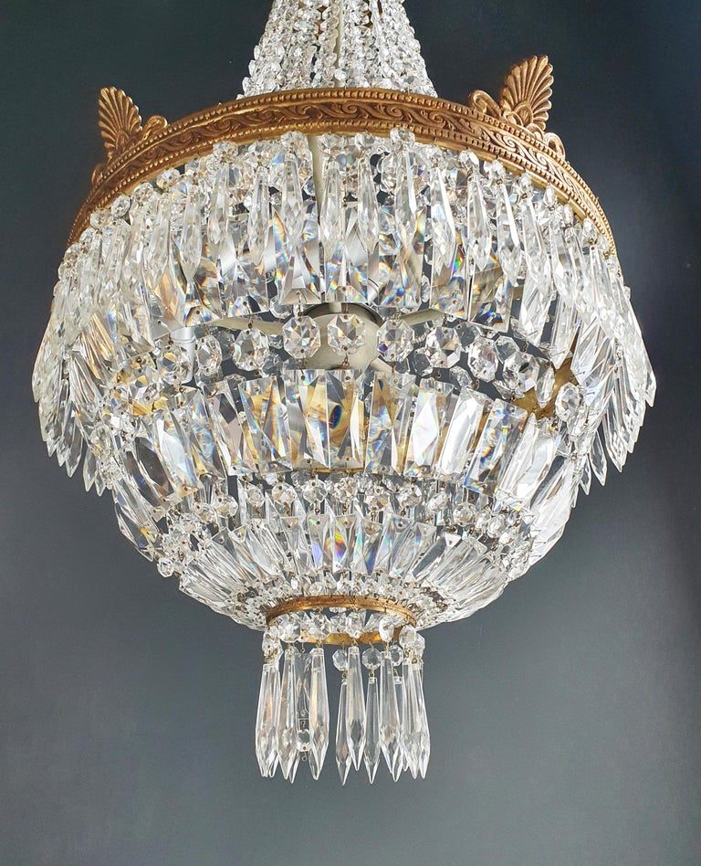 Glass Montgolfiè Empire Brass Sac a Pearl Chandelier Crystal Lustre Ceiling Antique For Sale
