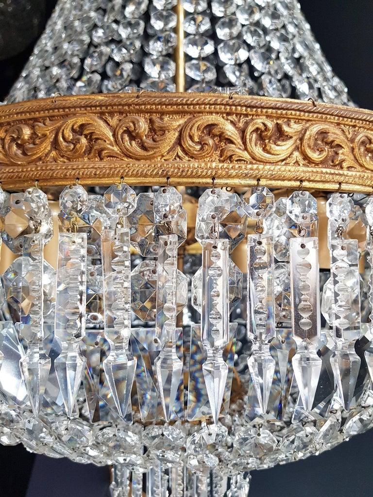 2 Montgolfiè Empire Brass Sac a Pearl Chandelier Crystal Lustre Ceiling Antique For Sale 2