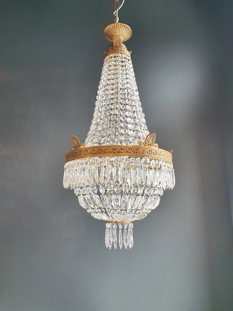 Montgolfiè Empire Brass Sac a Pearl Chandelier Crystal Lustre Ceiling Antique For Sale 1