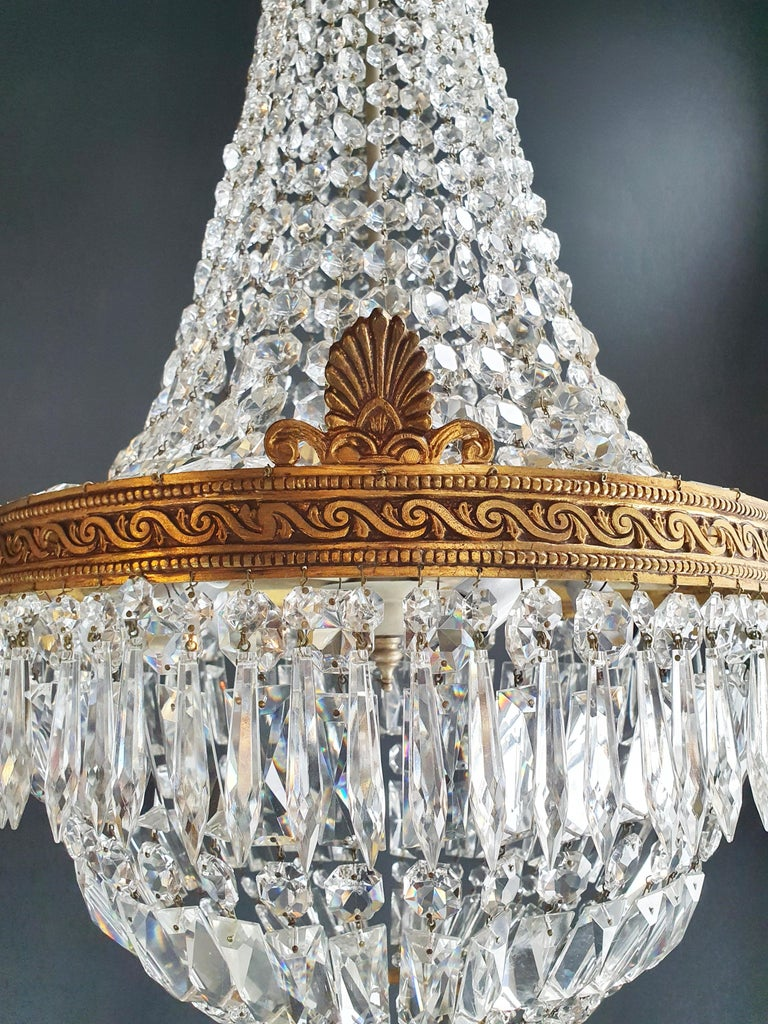 Montgolfiè Empire Brass Sac a Pearl Chandelier Crystal Lustre Ceiling Antique For Sale 2