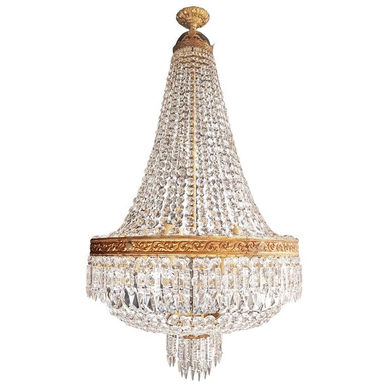 2 Montgolfiè Empire Brass Sac a Pearl Chandelier Crystal Lustre Ceiling Antique For Sale