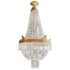 Montgolfiè Empire Brass Sac a Pearl Chandelier Crystal Lustre Ceiling Antique