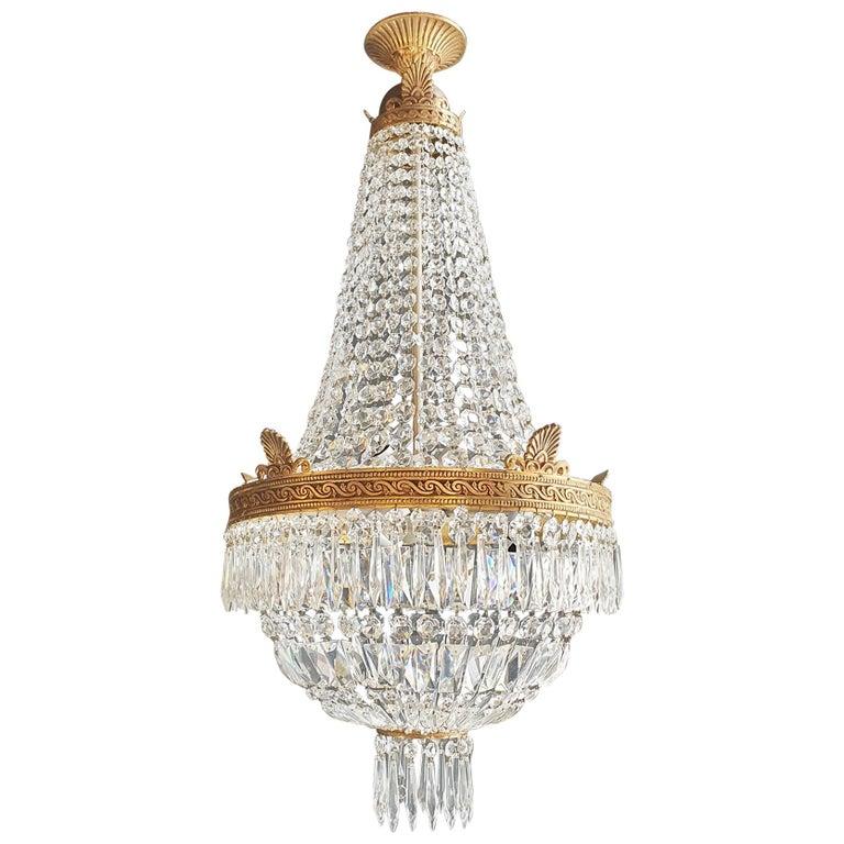 Montgolfiè Empire Brass Sac a Pearl Chandelier Crystal Lustre Ceiling Antique For Sale