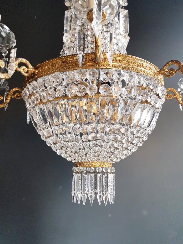 European Montgolfiè Empire Sac a Pearl Chandelier Crystal Lustre Ceiling Lamp Antique For Sale