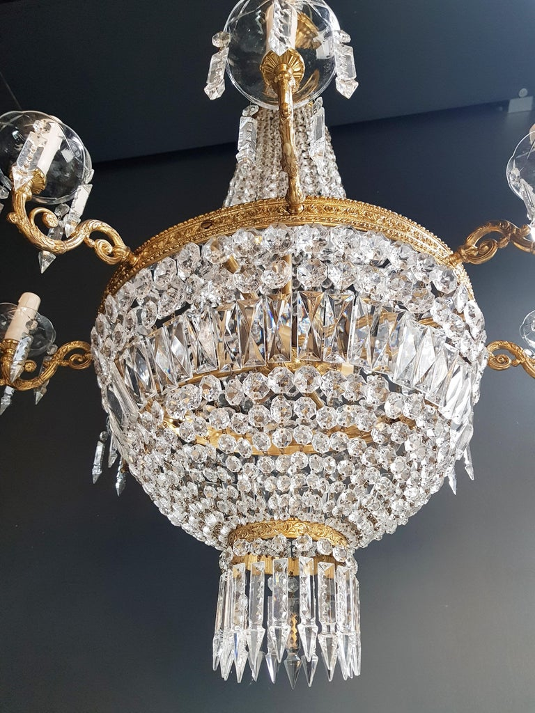 Montgolfiè Empire Sac a Pearl Chandelier Crystal Lustre Ceiling Lamp Antique In Good Condition For Sale In Berlin, DE