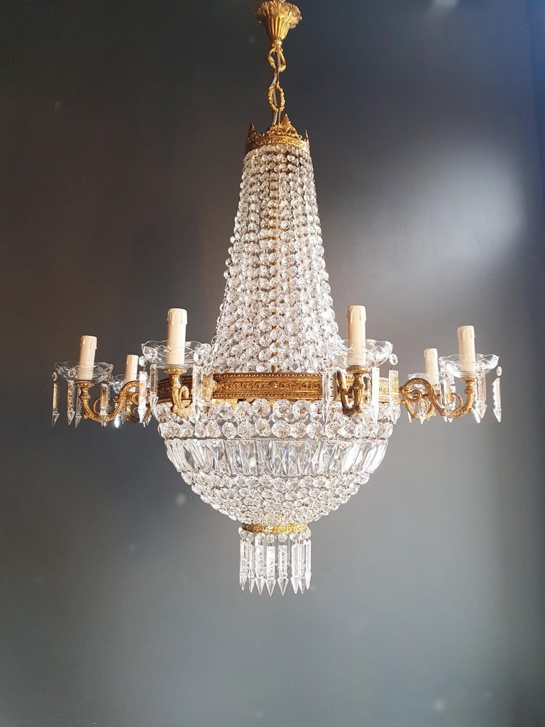 Early 20th Century Montgolfiè Empire Sac a Pearl Chandelier Crystal Lustre Ceiling Lamp Antique For Sale