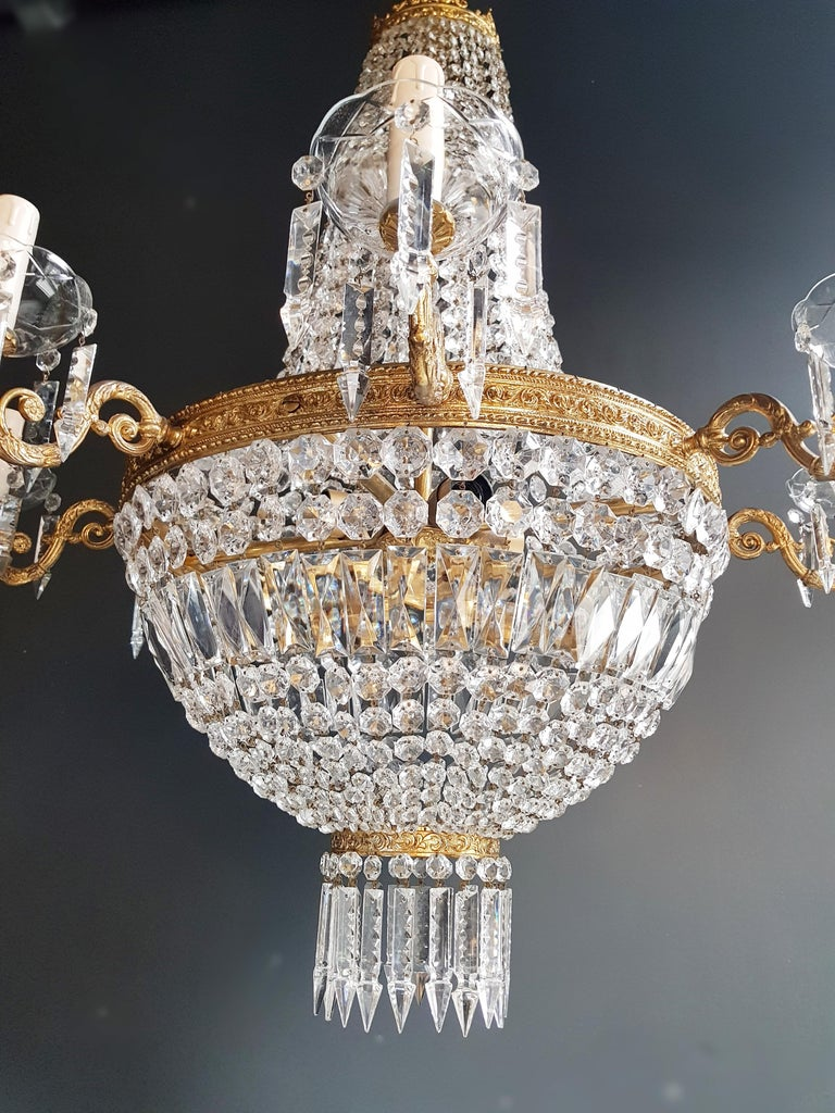 Montgolfiè Empire Sac a Pearl Chandelier Crystal Lustre Ceiling Lamp Antique For Sale 1