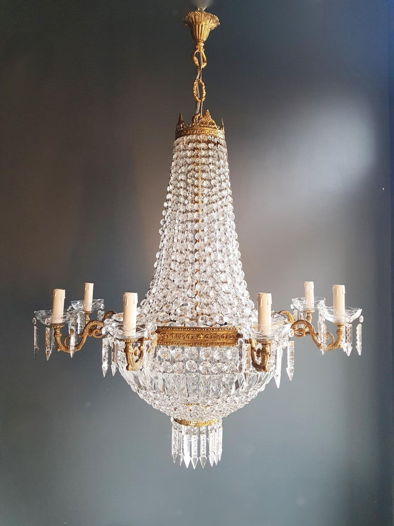 Montgolfiè Empire Sac a Pearl Chandelier Crystal Lustre Ceiling Lamp Antique For Sale 2
