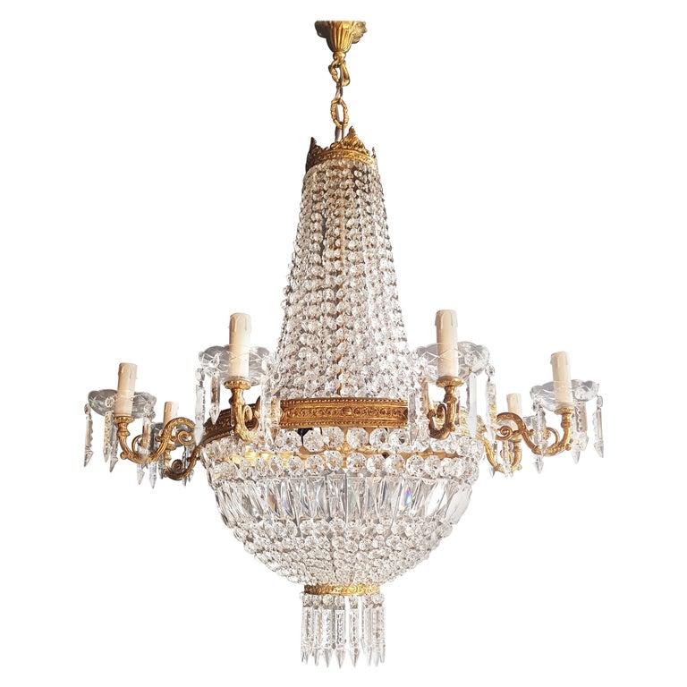 Montgolfiè Empire Sac a Pearl Chandelier Crystal Lustre Ceiling Lamp Antique For Sale
