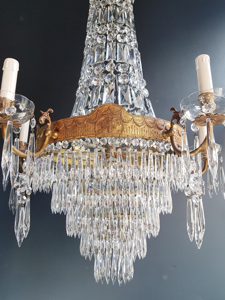 Hand-Knotted Montgolfiè Empire Sac a Pearl Chandelier Crystal Lustre Ceiling Lamp Antique WoW For Sale