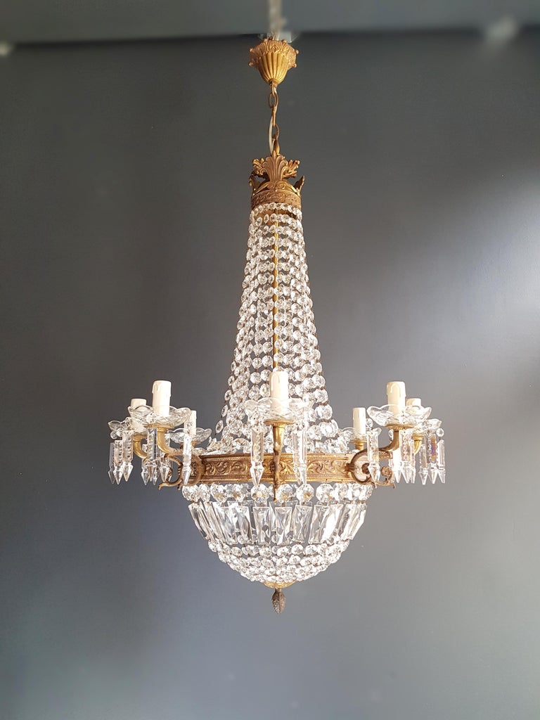 Montgolfiè Empire Sac a Pearl Chandelier Crystal Lustre Ceiling Lamp Antique WoW In Good Condition For Sale In Berlin, DE