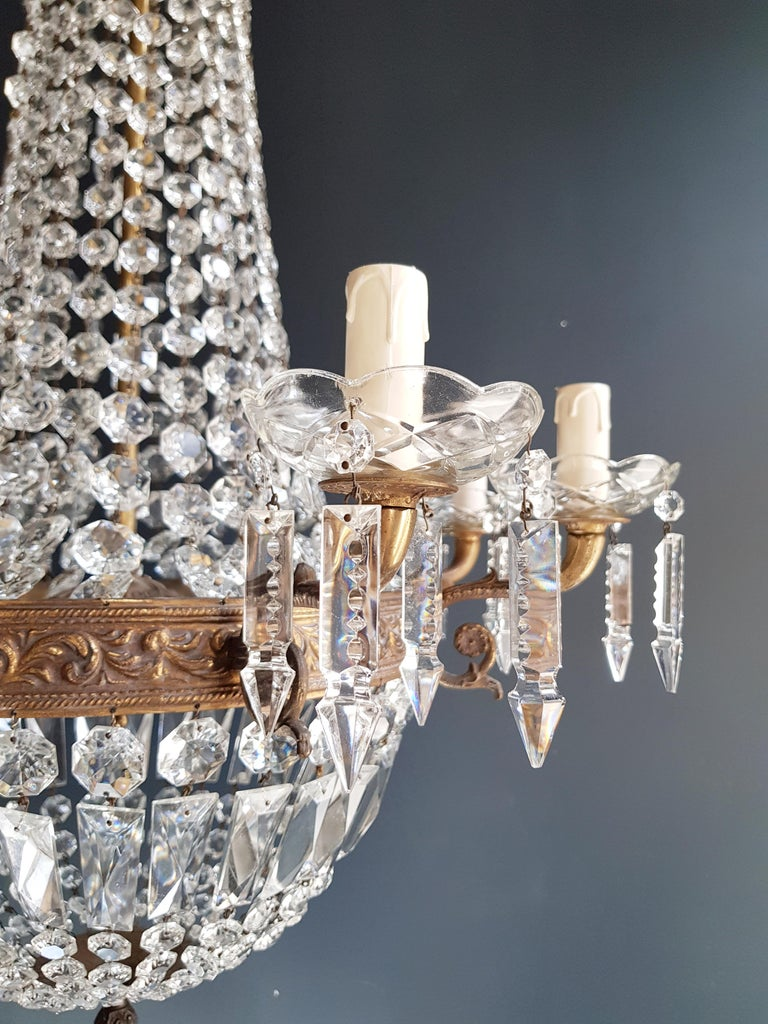 Early 20th Century Montgolfiè Empire Sac a Pearl Chandelier Crystal Lustre Ceiling Lamp Antique WoW For Sale