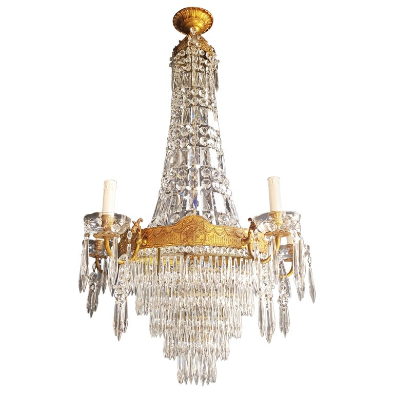 Montgolfiè Empire Sac a Pearl Chandelier Crystal Lustre Ceiling Lamp Antique WoW For Sale