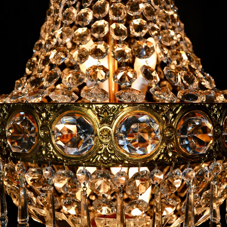 European Montgolfièr Empire Sac a Pearl Chandelier Crystal Lustre Ceiling Lamp Hall