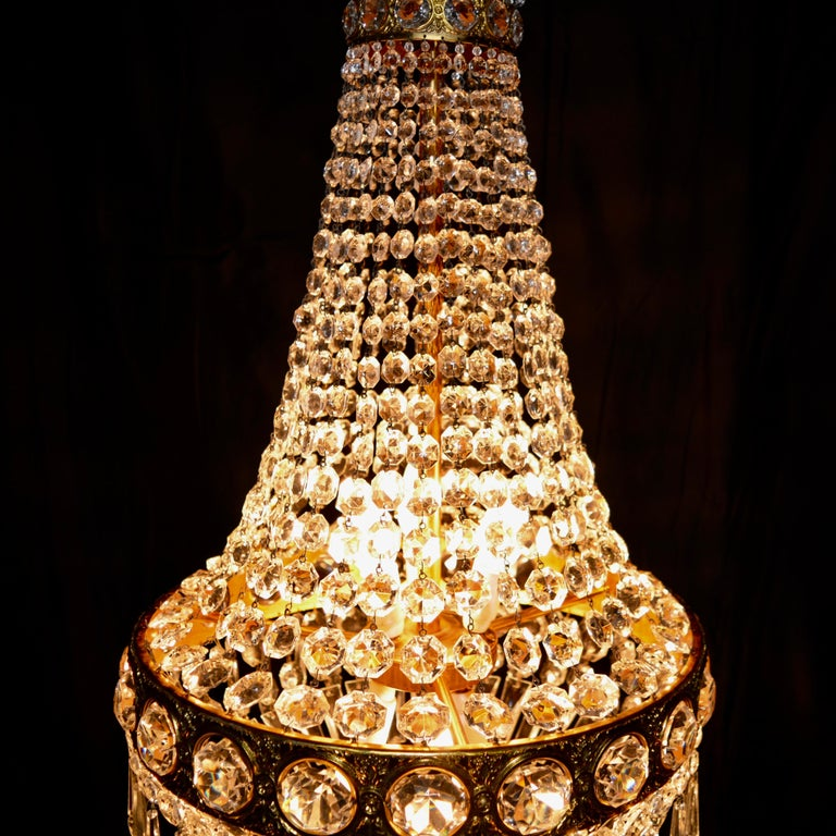 Hand-Knotted Montgolfièr Empire Sac a Pearl Chandelier Crystal Lustre Ceiling Lamp Hall