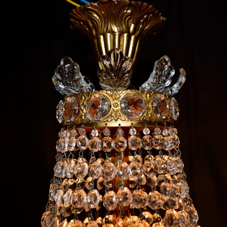 Montgolfièr Empire Sac a Pearl Chandelier Crystal Lustre Ceiling Lamp Hall In Good Condition In Berlin, DE
