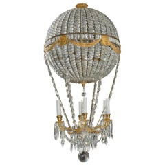 Montgolfier Ormolu and Crystal Hot Air Balloon Chandelier