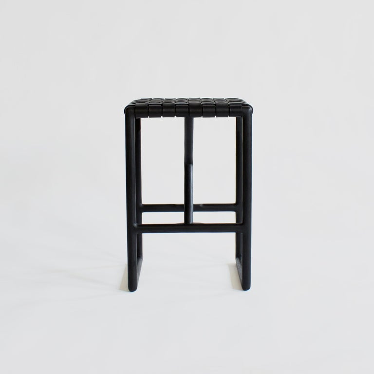 Modern Montgomery Leather and Solid Wood Bar Stool and Counter Stool For Sale
