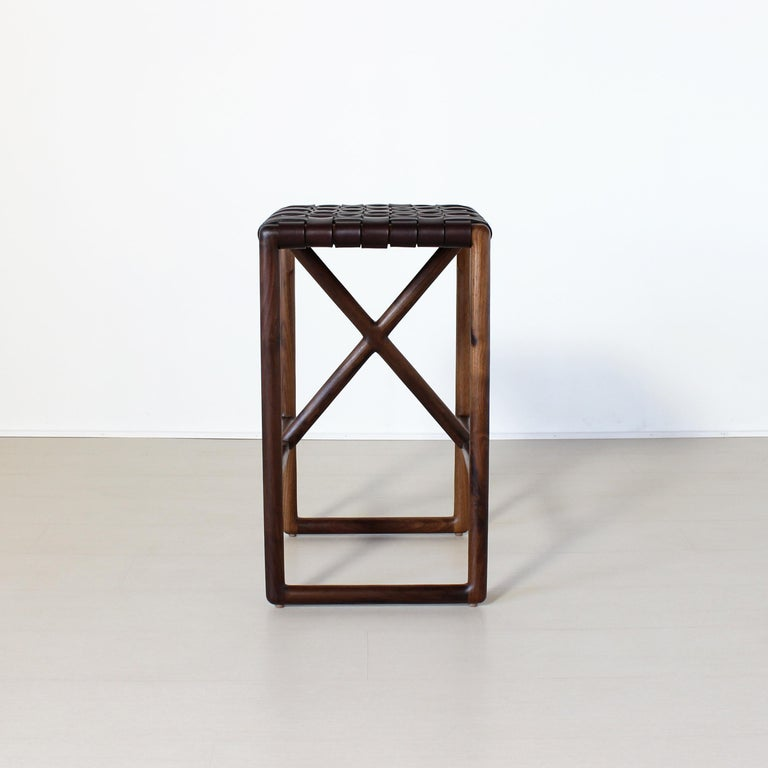 American Montgomery Leather and Solid Wood Bar Stool and Counter Stool For Sale