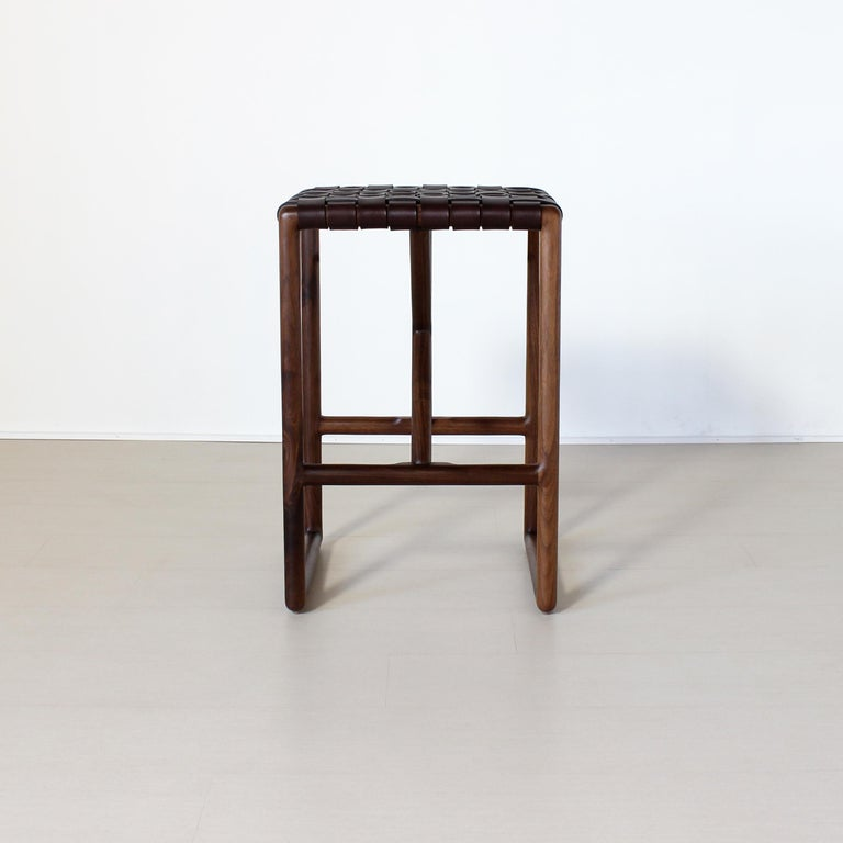 Montgomery Leather and Solid Wood Bar Stool and Counter Stool In New Condition For Sale In Baltimore City, MD