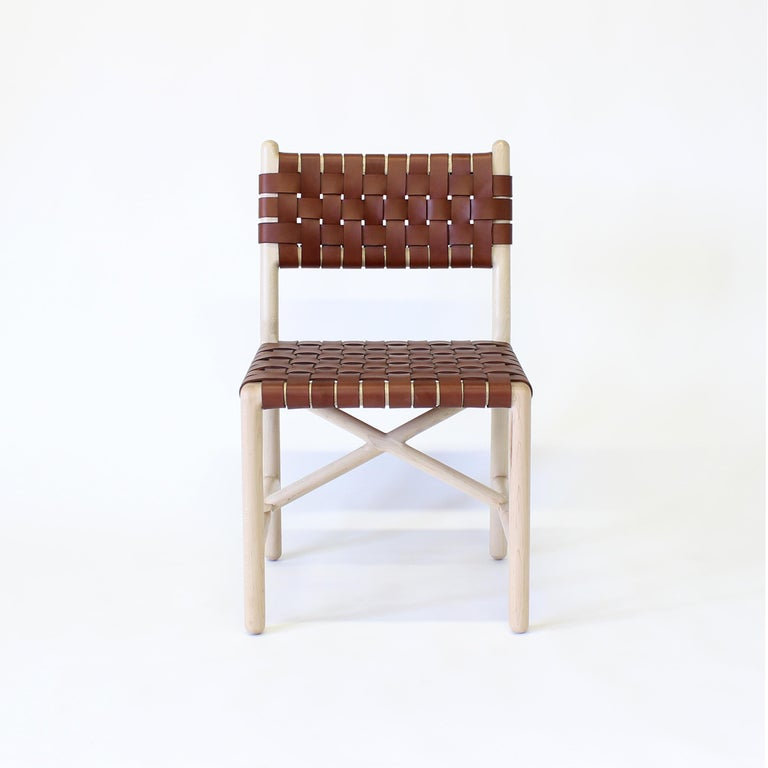 Modern Montgomery Solid Wood, and Woven Leather Dinning or Office Chair  For Sale