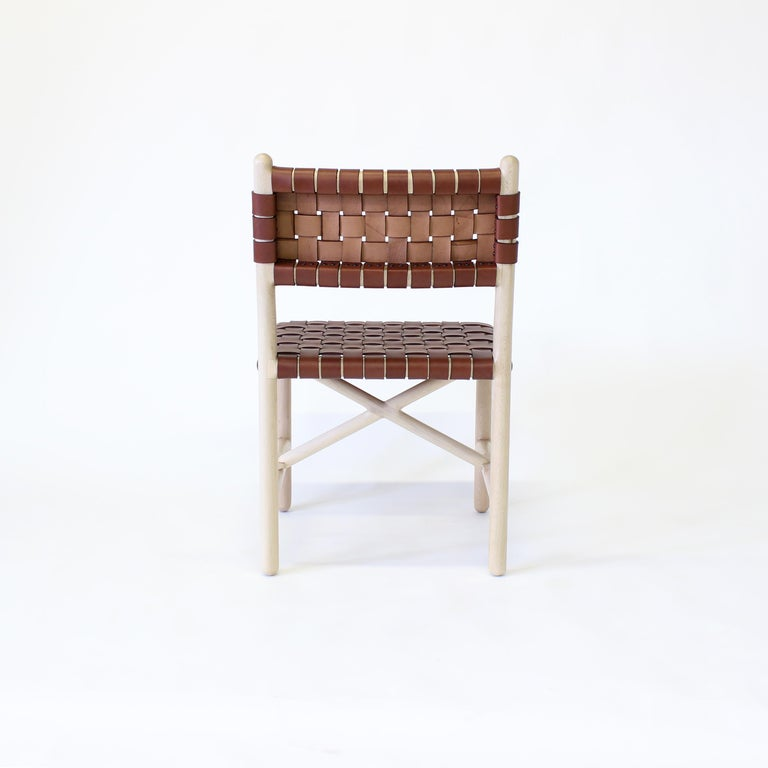 American Montgomery Solid Wood, and Woven Leather Dinning or Office Chair  For Sale