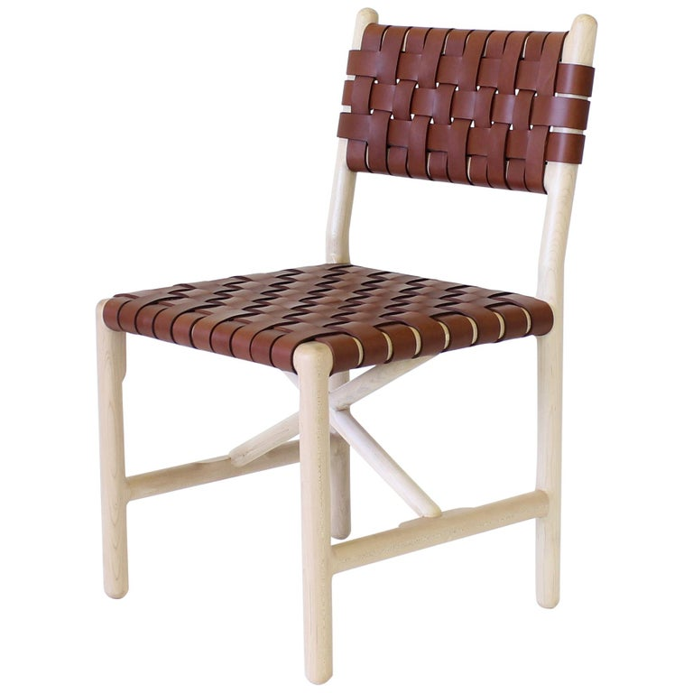 Montgomery Solid Wood, and Woven Leather Dinning or Office Chair  For Sale
