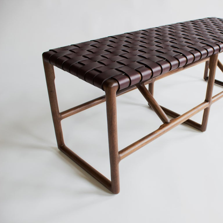 Modern Montgomery Woven Leather Bench 60in For Sale