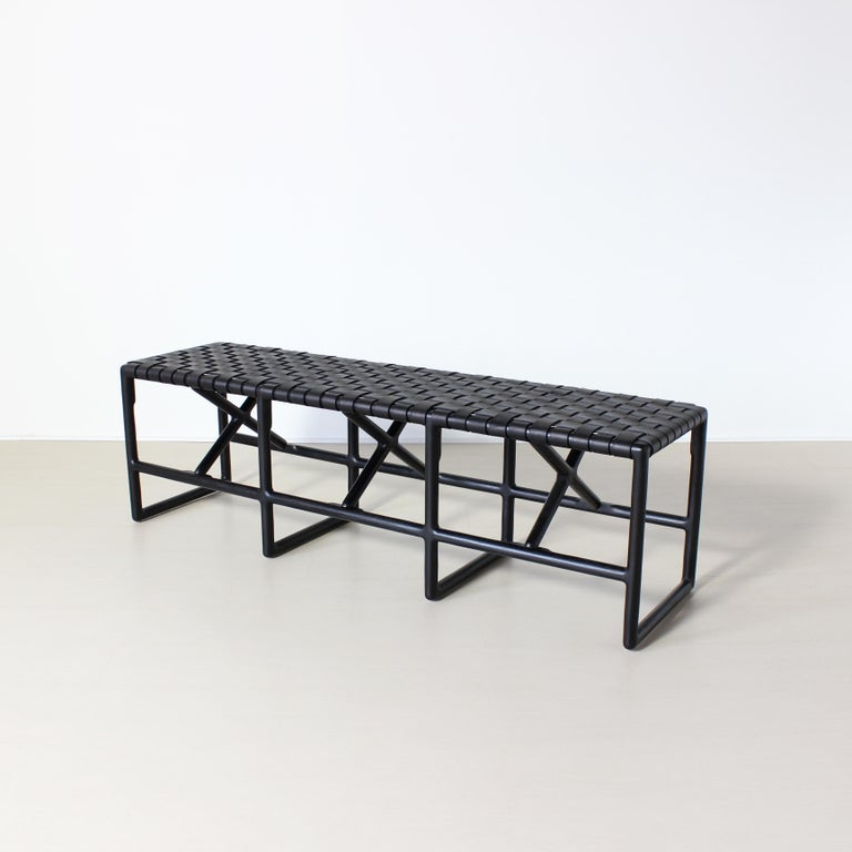 Contemporary Montgomery Woven Leather Bench 60in For Sale
