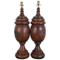 Monticello Studio Primitive Faux Wood Trophy Urn Table Lamps Rustic Lodge