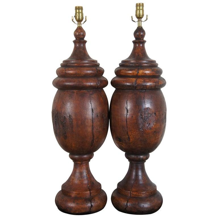 Monticello Studio Primitive Faux Wood Trophy Urn Table Lamps Rustic Lodge For Sale