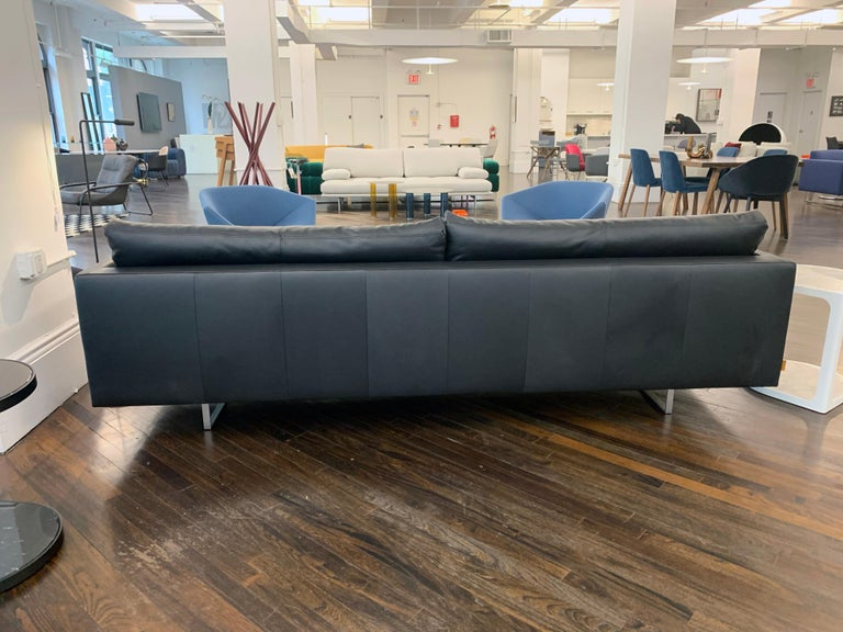 Contemporary Montis Axel Black Leather Sofa For Sale