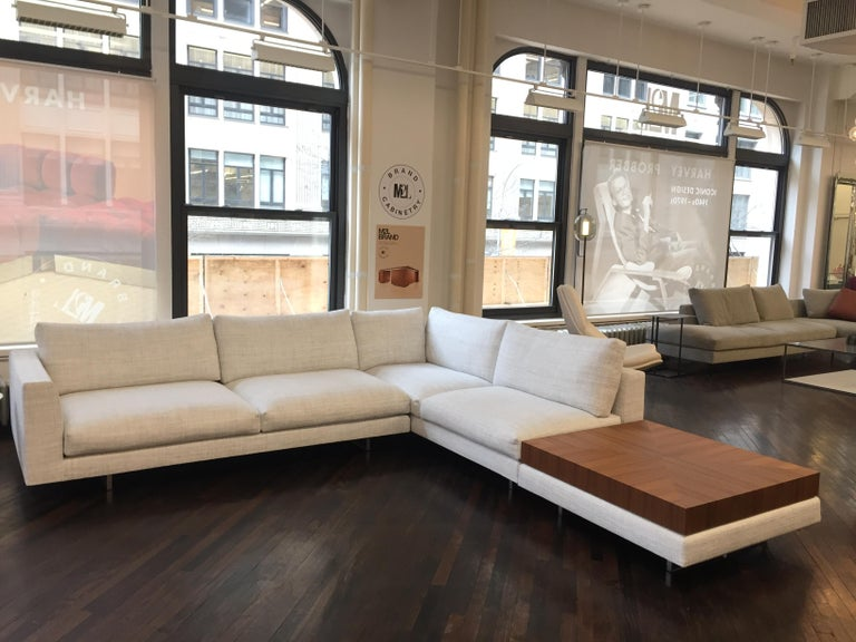 Montis Axel XL Fabric Sectional Sofa with Walnut Table