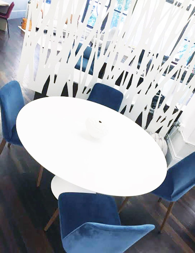 Contemporary Montis Set of Four Blue Velvet Back Me Up Side Chairs For Sale