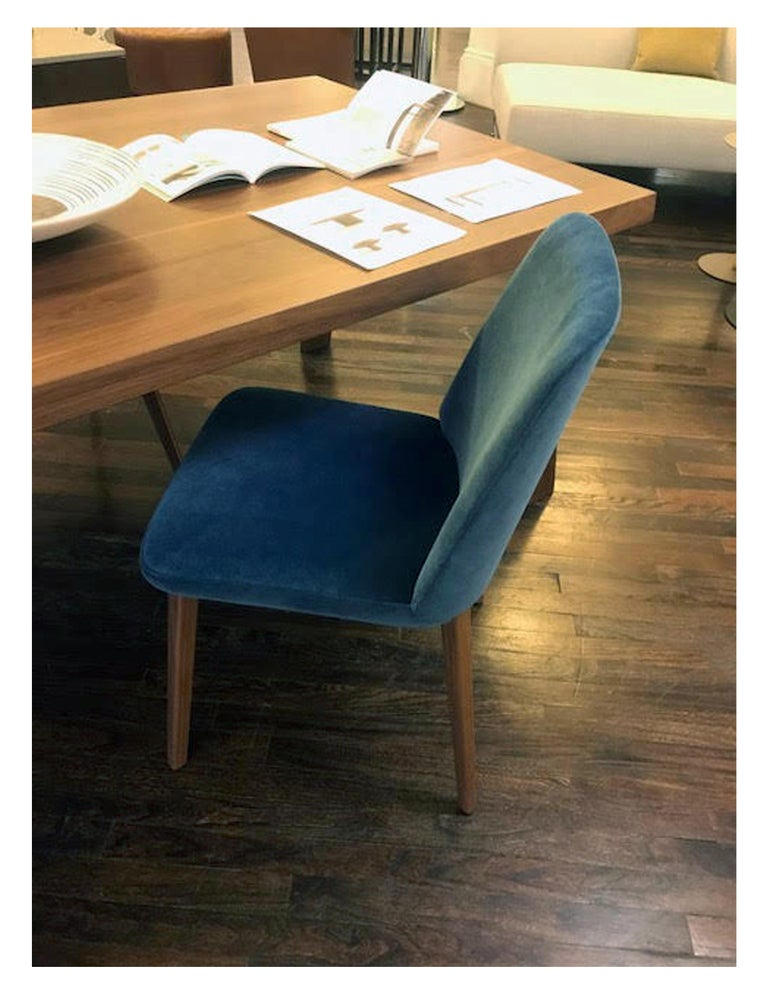Fabric Montis Set of Four Blue Velvet Back Me Up Side Chairs For Sale