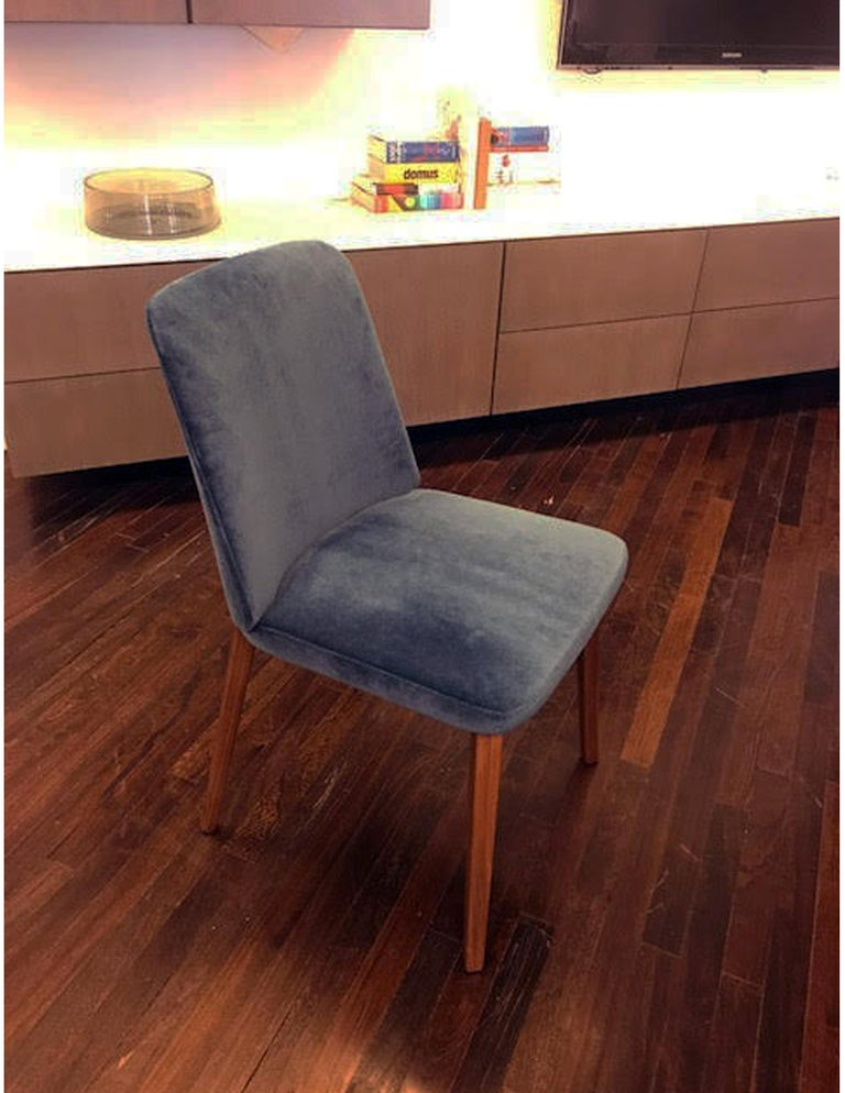 Montis Set of Four Blue Velvet Back Me Up Side Chairs For Sale 1