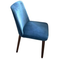 Montis Set of Four Blue Velvet Back Me Up Side Chairs