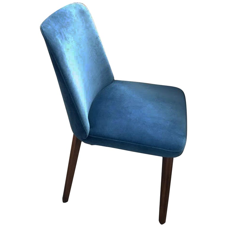 Montis Set of Four Blue Velvet Back Me Up Side Chairs For Sale